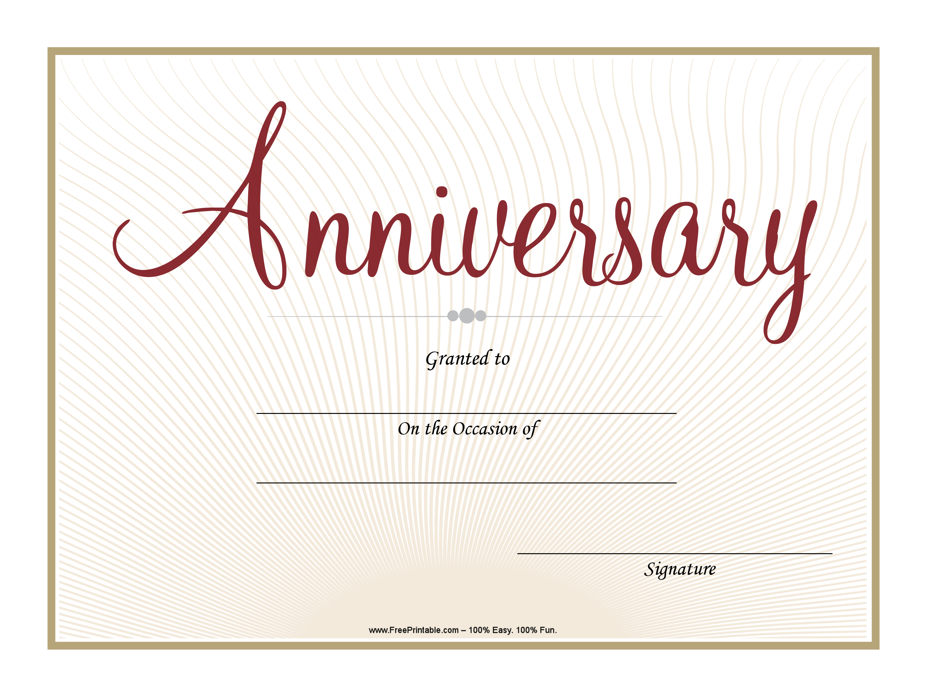 Customize Your Free Printable Cursive Anniversary Certificate