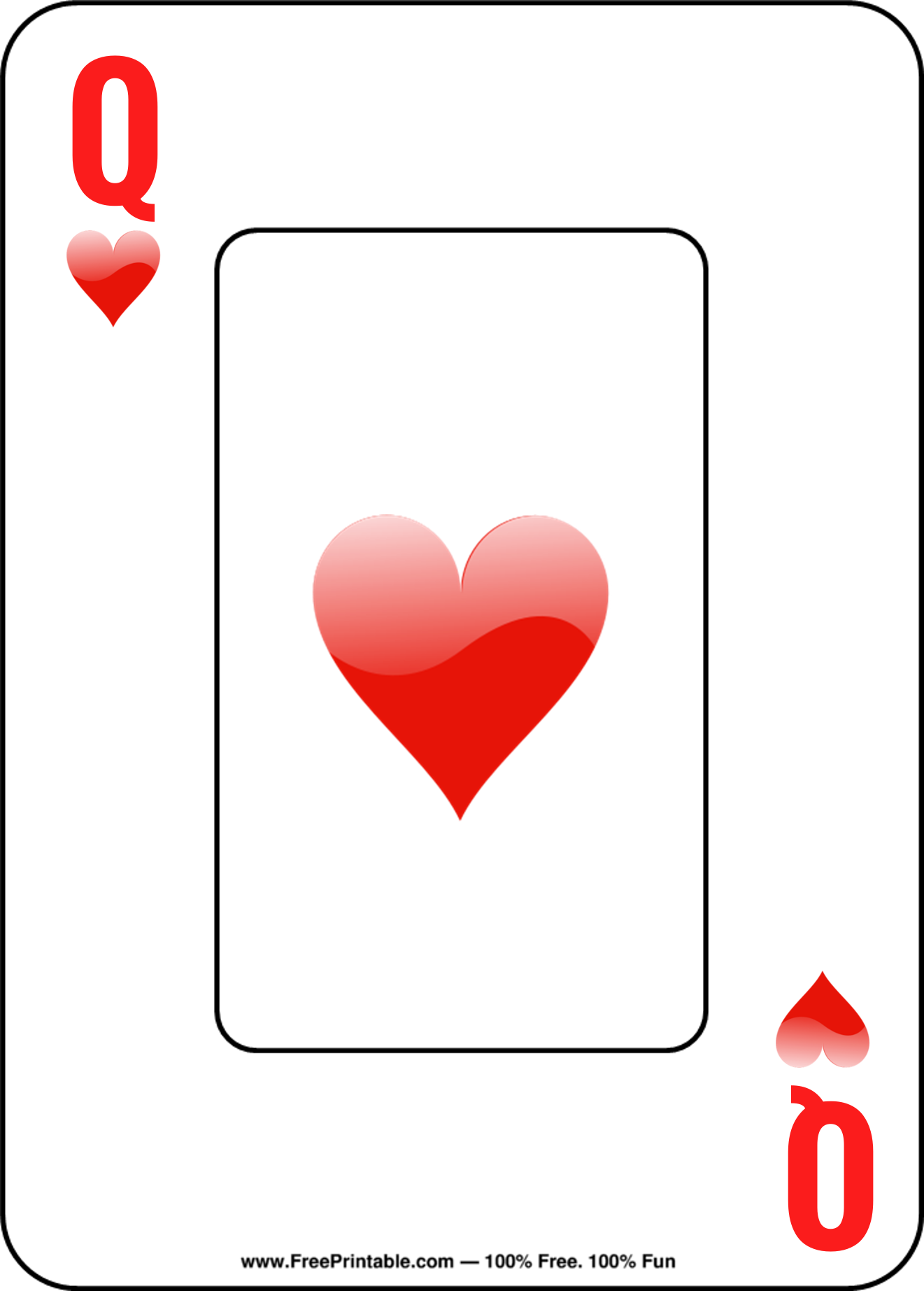 Customize Your Free Printable Queen Of Hearts Playing Card