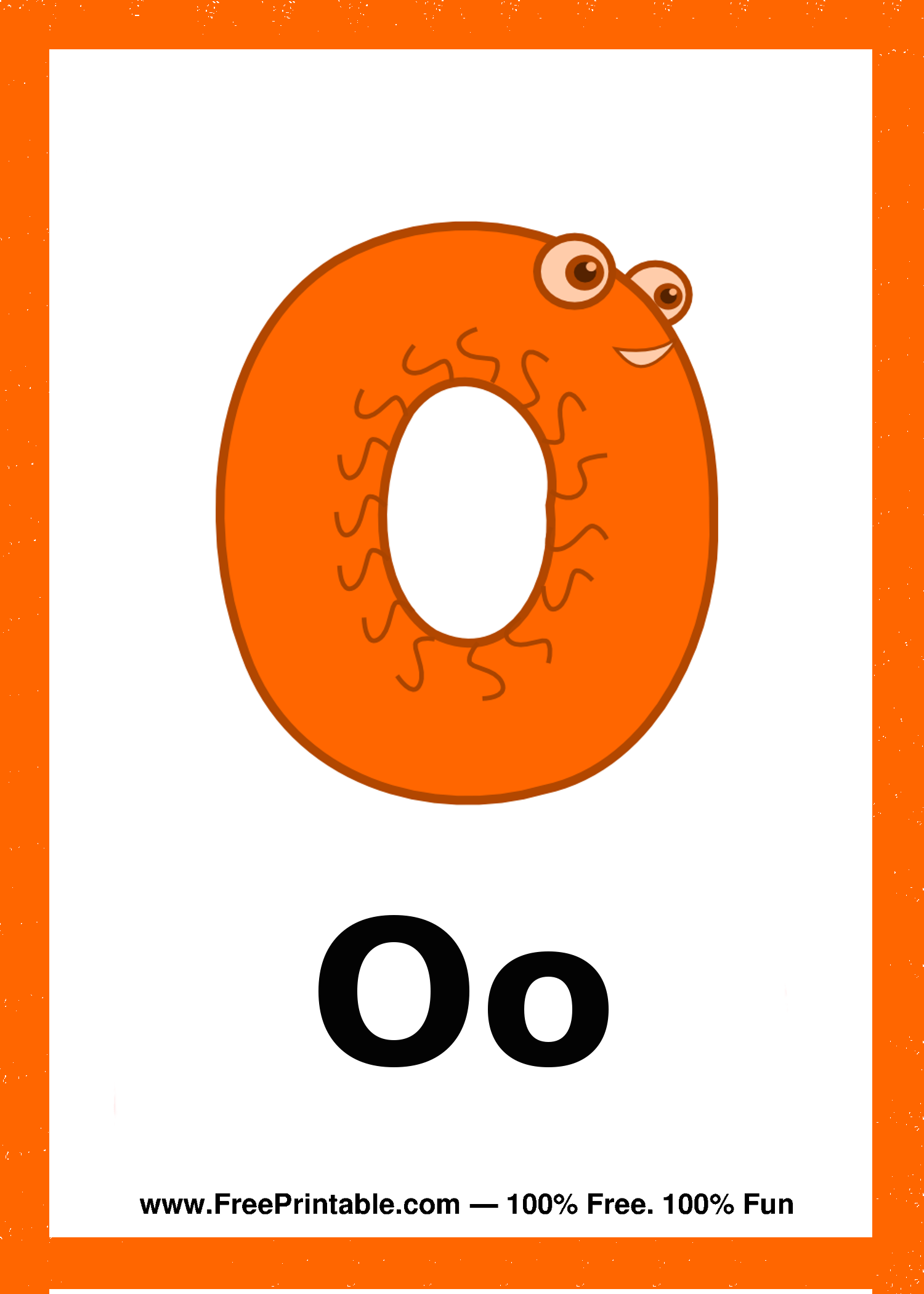 Customize Your Free Printable Letter O Creature Flash Card