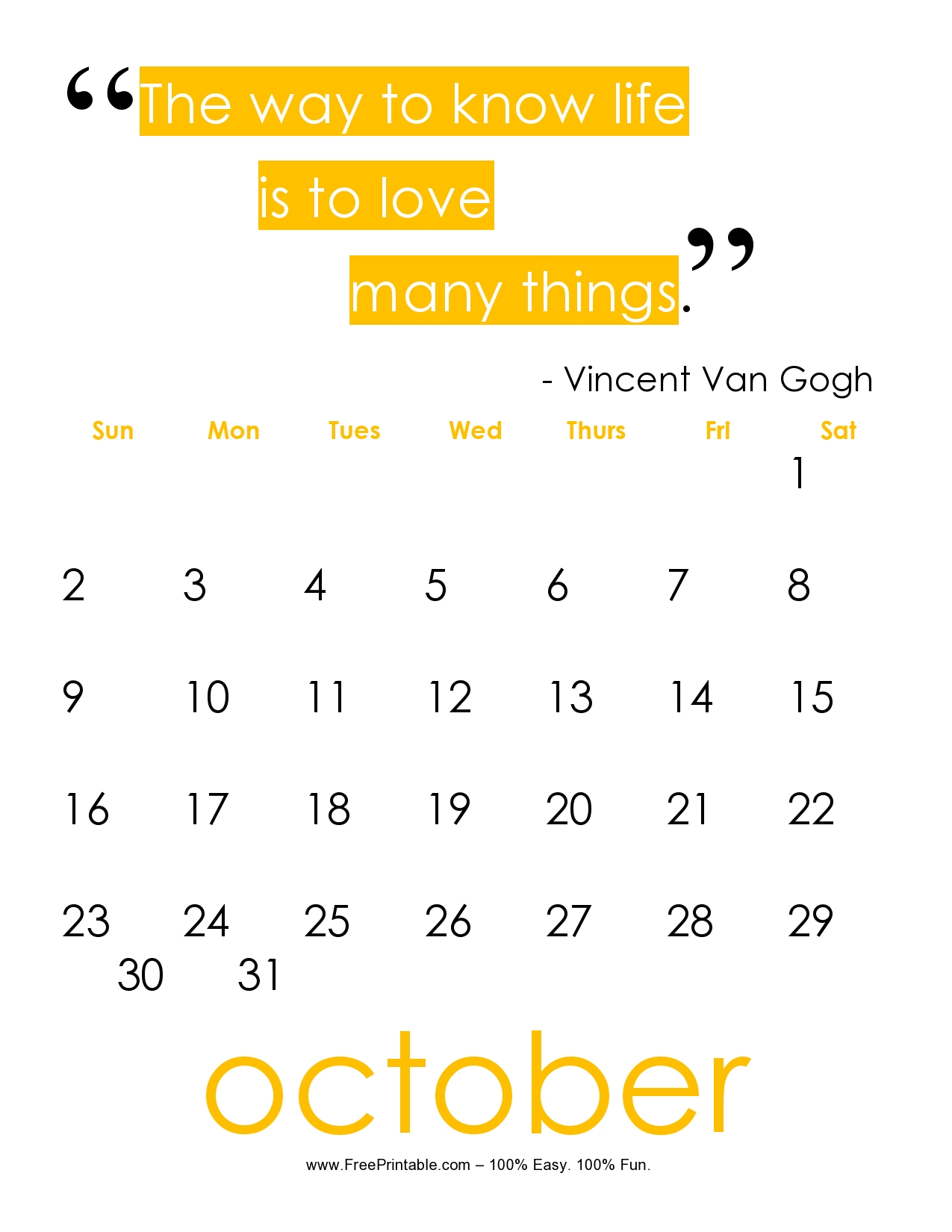 Customize Your Free Printable October 2017 Quote Calendar