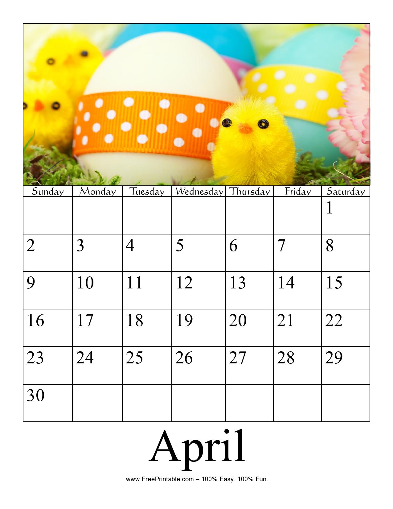 Customize Your Free Printable April 2017 Photo Calendar