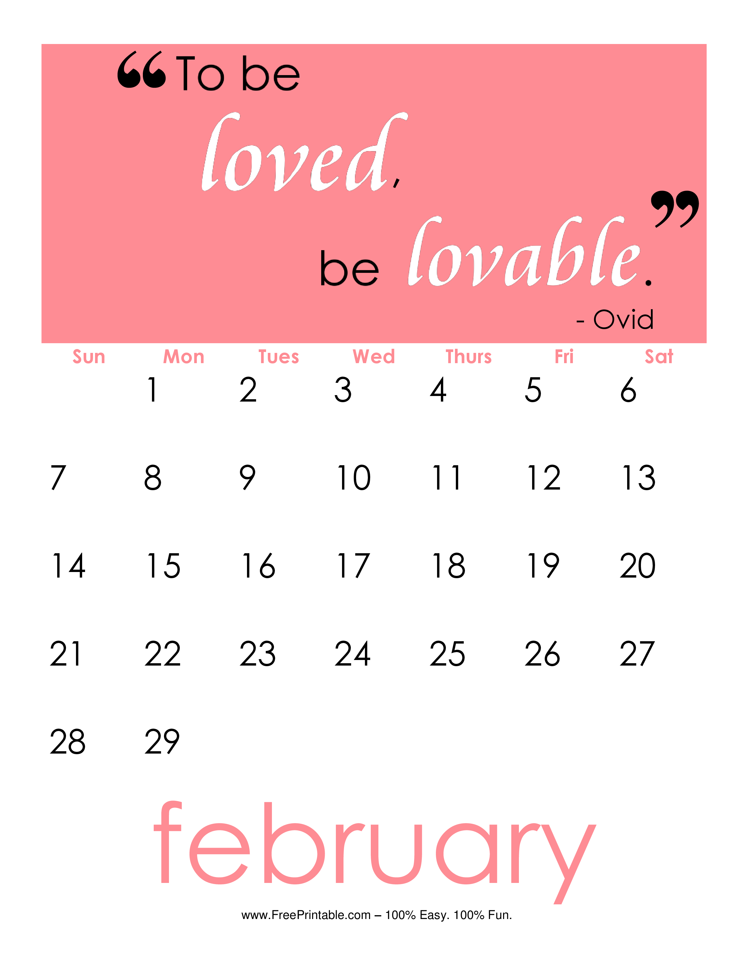 February 2016 Printable Calendars | Calendar Template 2016