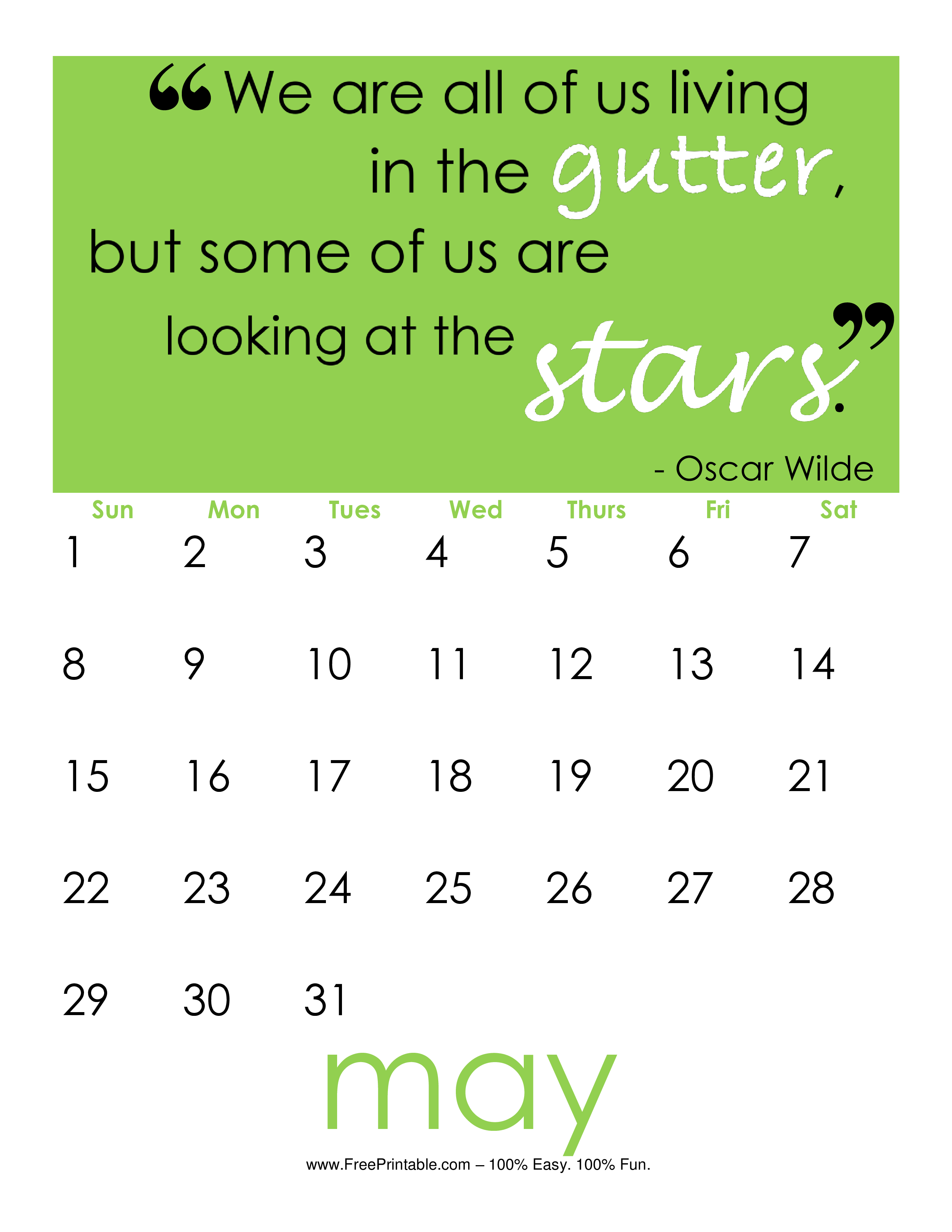 Oscar Wilde monthly calendar