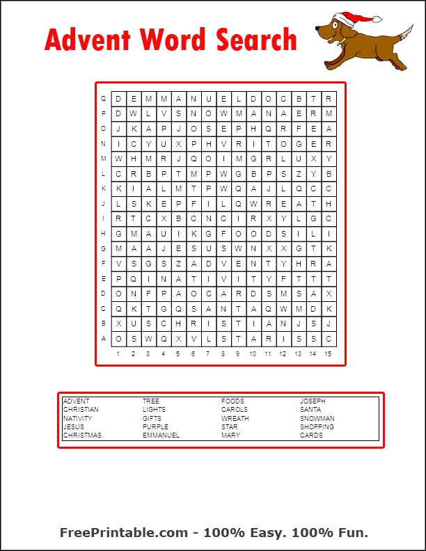 Advent Word Search Printables