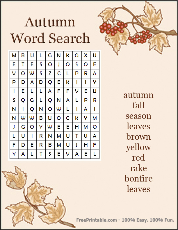 Candid image within fall word search printable
