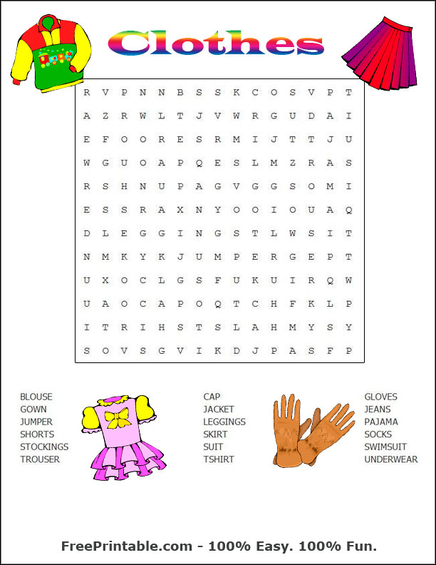 Pin Clothes Wordsearch Easy Clothes Wordsearch Hard New Clothes on ...