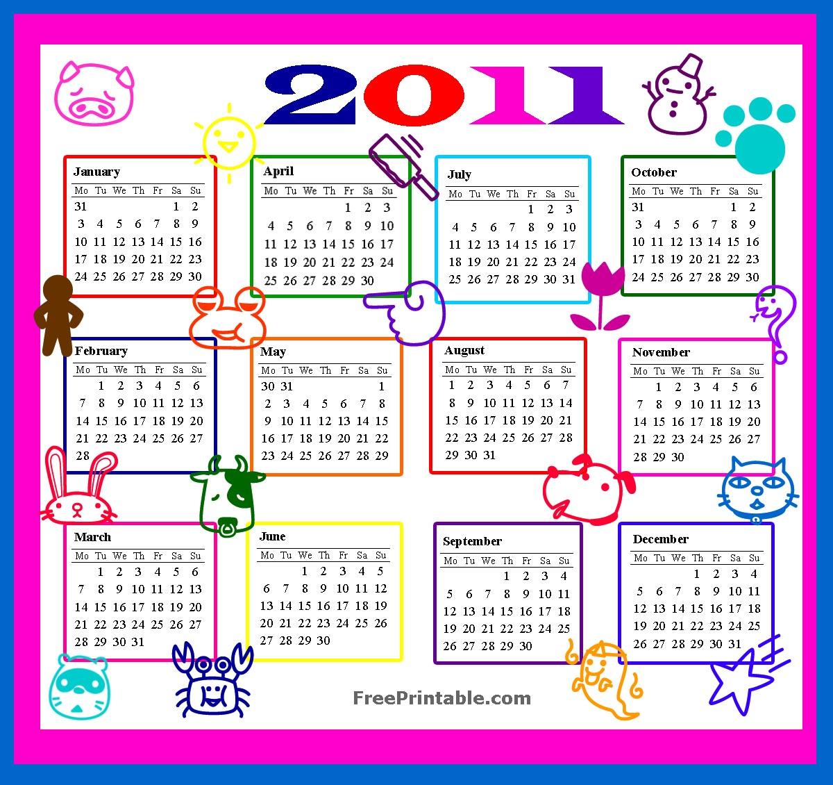 Pics Photos - Printable Calendars With Cartoon Characters
