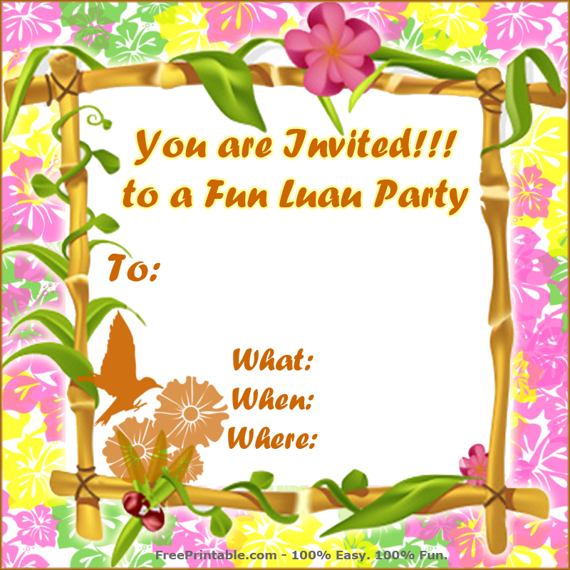 hawaiian luau invitations template free