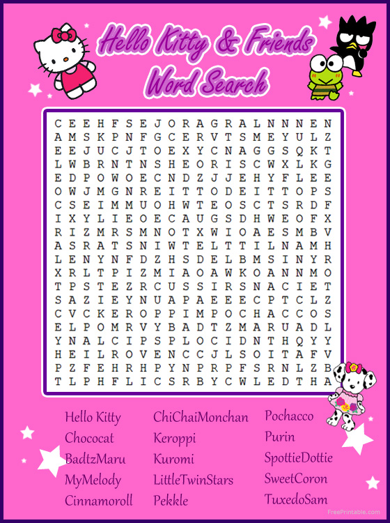 hello kitty word search printables Quotes