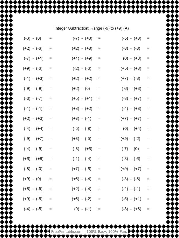 Integers Worksheet 6th Grade -worksheets/sixth-grade-6/