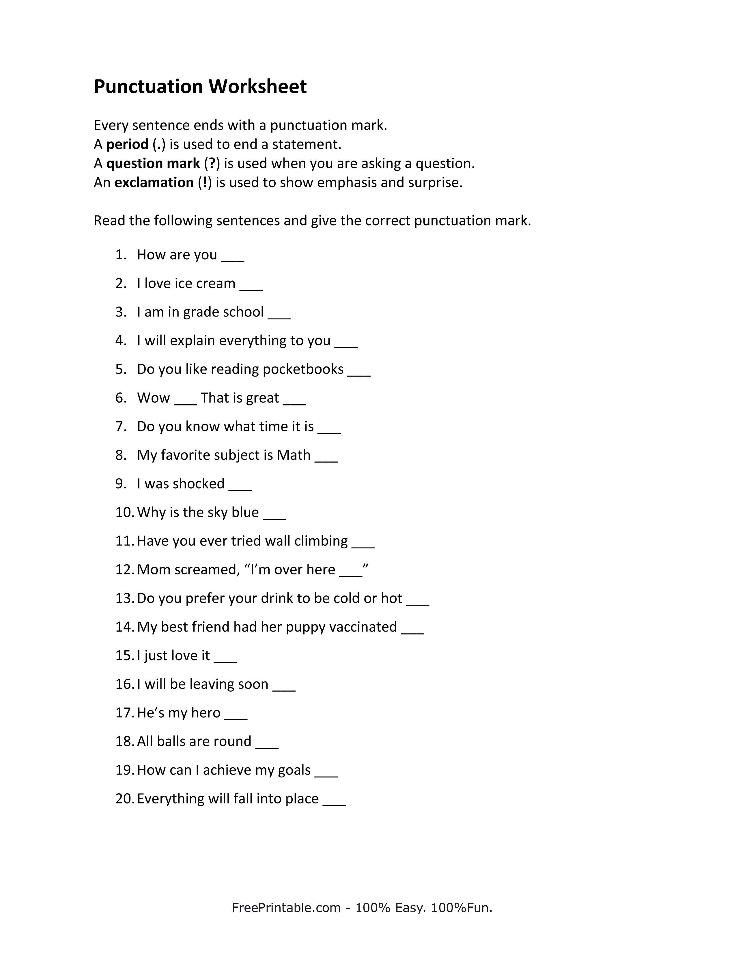 Punctuation Worksheets Related Keywords & Suggestions - Punctuation ...