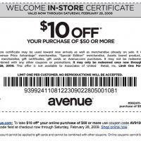 Avenue $10 Off on $50 Purchase