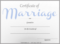 Blue Marriage Certificate