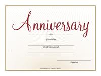 Cursive Anniversary Certificate
