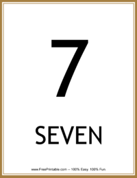 Flash Card Number 7