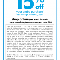 15% Off Coupon at The Children's Place