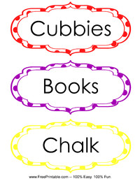 Classroom Labels Cubbies