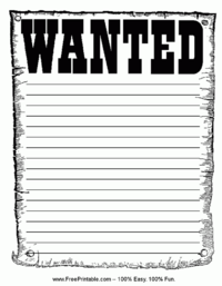 Wanted Poster Penmanship Paper