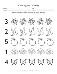 Counting and Coloring Worksheet (Max 5)