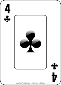Four of Clubs Playing Card