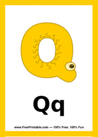 Letter Q Creature Flash Card