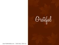 Grateful Thanksgiving Card Brown