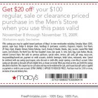 Printable $20 Off Your $100 - Macys's Men's Store - Printable Discount Coupons - Free Printable Coupons