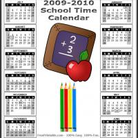 Printable 2009-2010 Scool Time Calendar - Printable Calandars - Free Printable Calendars