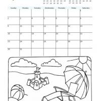 Printable 2009 Beach Coloring August Calendar - Printable Monthly Calendars - Free Printable Calendars