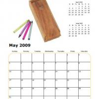 Printable 2009 Crayons May Calendar - Printable Monthly Calendars - Free Printable Calendars