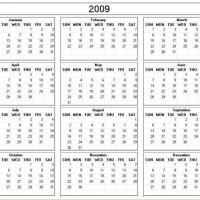 2009 Desk Calendar Template