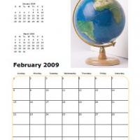 Printable 2009 Globe February Calendar - Printable Monthly Calendars - Free Printable Calendars