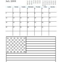 2009 July American Flag Coloring Calendar
