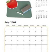 Printable 2009 July School Elements Calendar - Printable Monthly Calendars - Free Printable Calendars