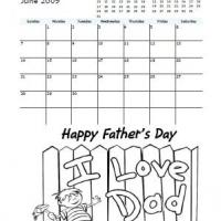 Printable 2009 June Father's Day Coloring Calendar - Printable Monthly Calendars - Free Printable Calendars