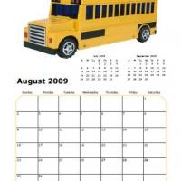 Printable 2009 School Bus August Calendar - Printable Monthly Calendars - Free Printable Calendars