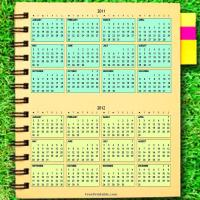Printable 2011-2012 Notebook Calendar on Grass - Printable Yearly Calendar - Free Printable Calendars