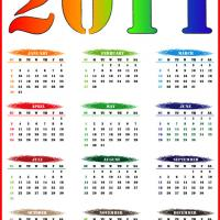 Printable 2011 Colorful Themed Calendar - Printable Yearly Calendar - Free Printable Calendars