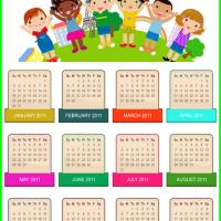 Printable 2011 Kids Holding Hands Calendar - Printable Yearly Calendar - Free Printable Calendars