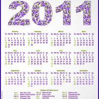 Printable 2011 Lavander Floral Calendar - Printable Yearly Calendar - Free Printable Calendars