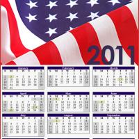 Printable 2011 USA Flag - Printable Yearly Calendar - Free Printable Calendars