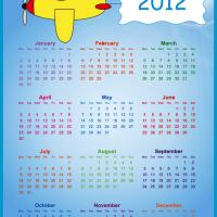 Printable 2012 Boy in a Plane Calendar - Printable Yearly Calendar - Free Printable Calendars