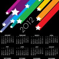 Printable 2012 Colorful Stars Calendar - Printable Yearly Calendar - Free Printable Calendars