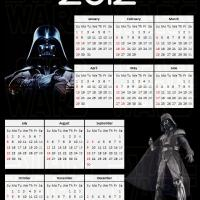 Printable 2012 Darth Vader Star Wars Calendar - Printable Yearly Calendar - Free Printable Calendars