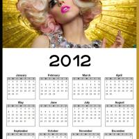 Printable 2012 Hello Kitty Gaga Calendar - Printable Yearly Calendar - Free Printable Calendars