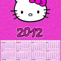 Printable 2012 Hello Kitty Pink Glittery Calendar - Printable Yearly Calendar - Free Printable Calendars
