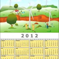 Printable 2012 Windmills Calendar - Printable Yearly Calendar - Free Printable Calendars