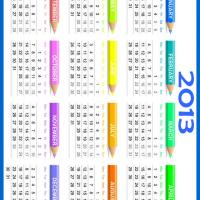 Printable 2013 Color Pencils Calendar - Printable Yearly Calendar - Free Printable Calendars