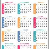 Printable 2013 Colorful Calendar - Printable Yearly Calendar - Free Printable Calendars