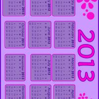 Printable 2013 Pink and Violet Calendar - Printable Yearly Calendar - Free Printable Calendars